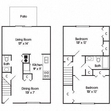 2 Bedroom Townhome – Confidence Floor Plan 4