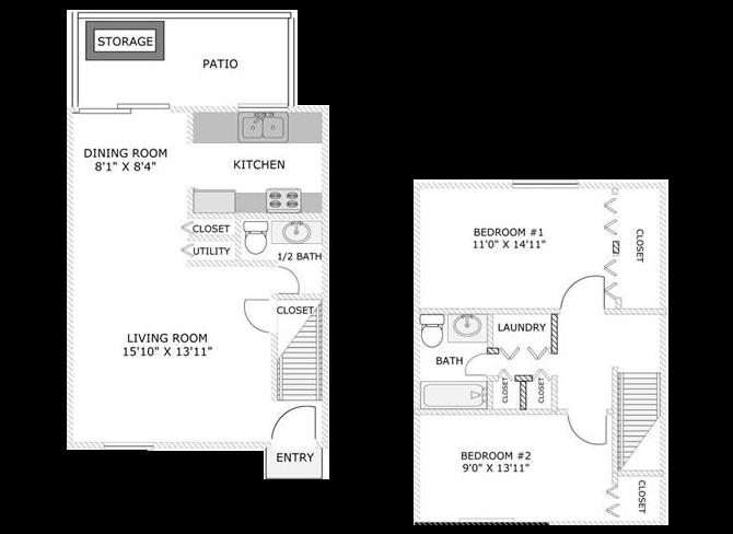 Two Bedroom Townhome Floor Plan 2