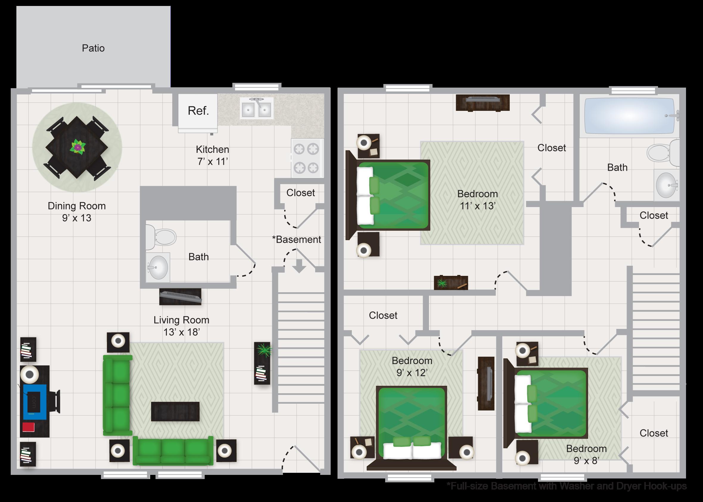 Three Bedroom Townhome Floor Plan 4