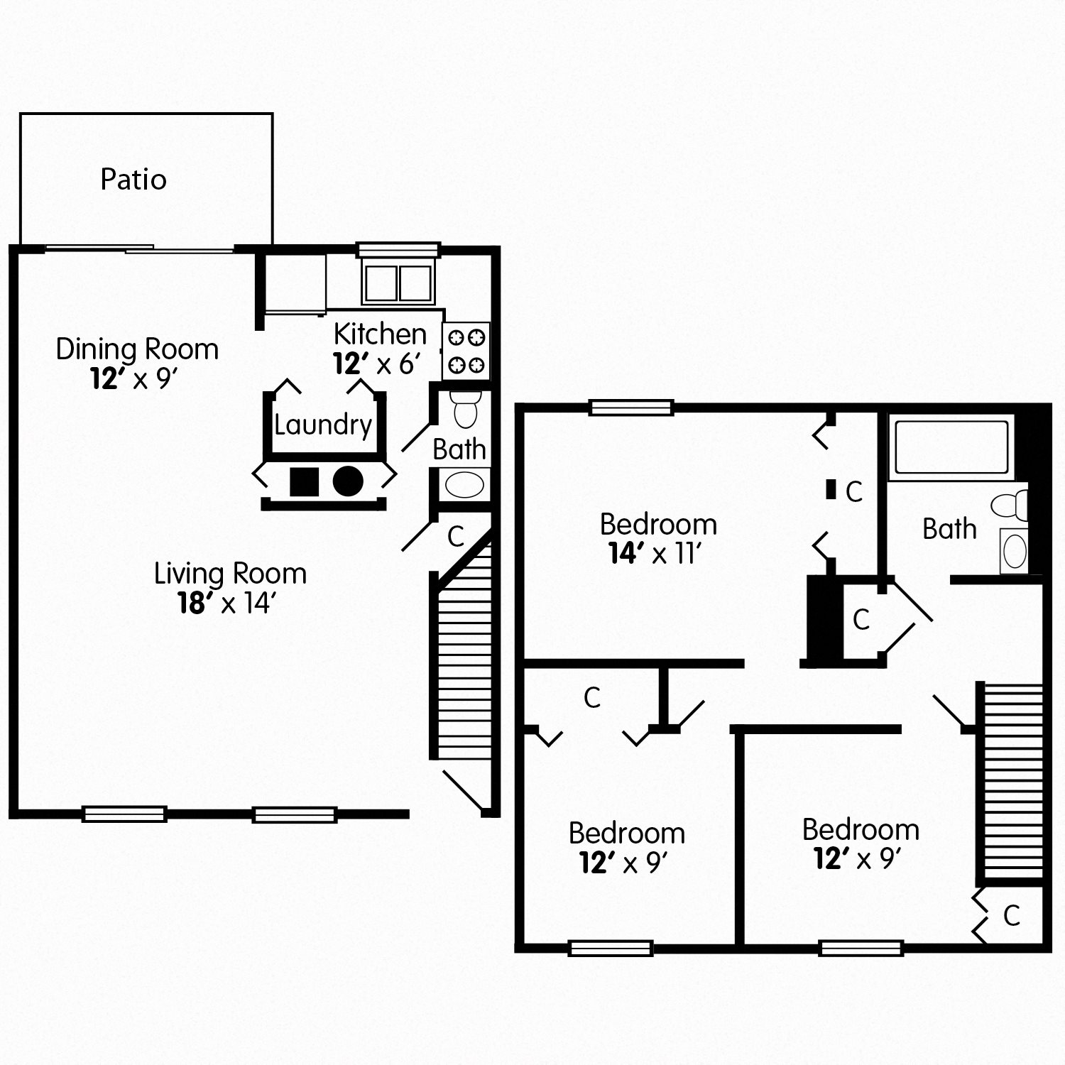 Three Bedroom Townhome Floor Plan 4