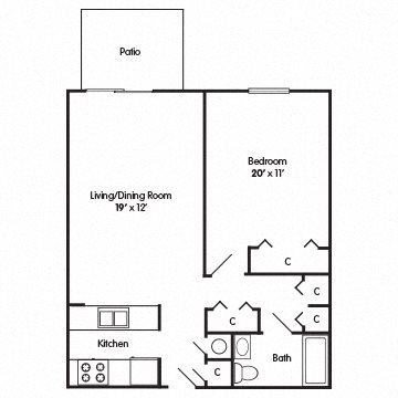 One Bedroom Apartment Floor Plan 1
