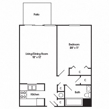 One Bedroom Apartment Modified for Mobility Impaired Floor Plan 2