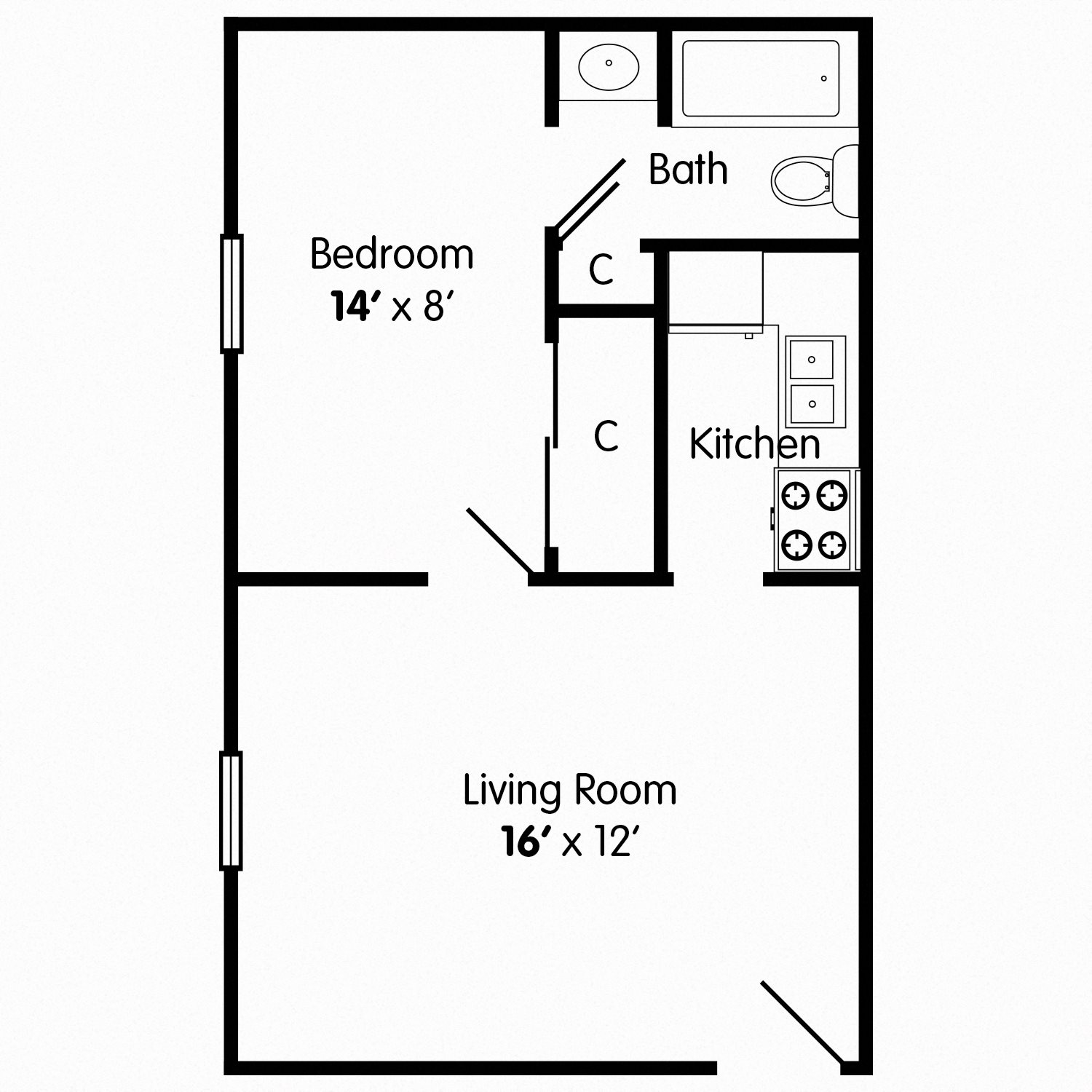 One Bedroom Apartment I Floor Plan 1