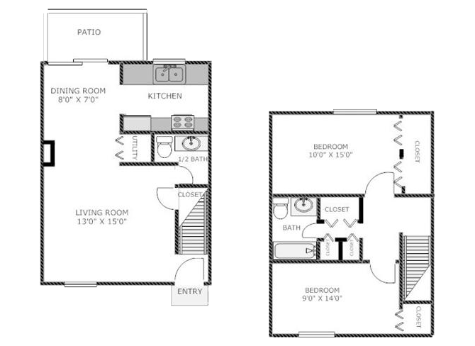 Two Bedroom Townhome Floor Plan 2