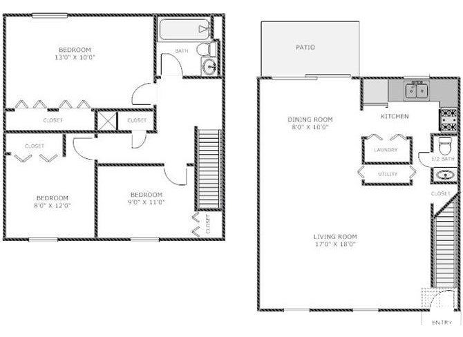 Three Bedroom Townhome Floor Plan 3