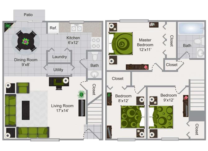 3 Bedroom Townhome Floor Plan 3