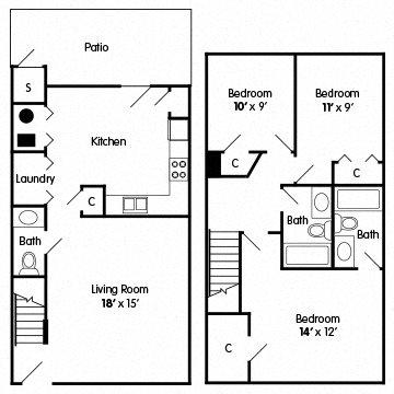 3 Bedroom Townhouse Floor Plan 2