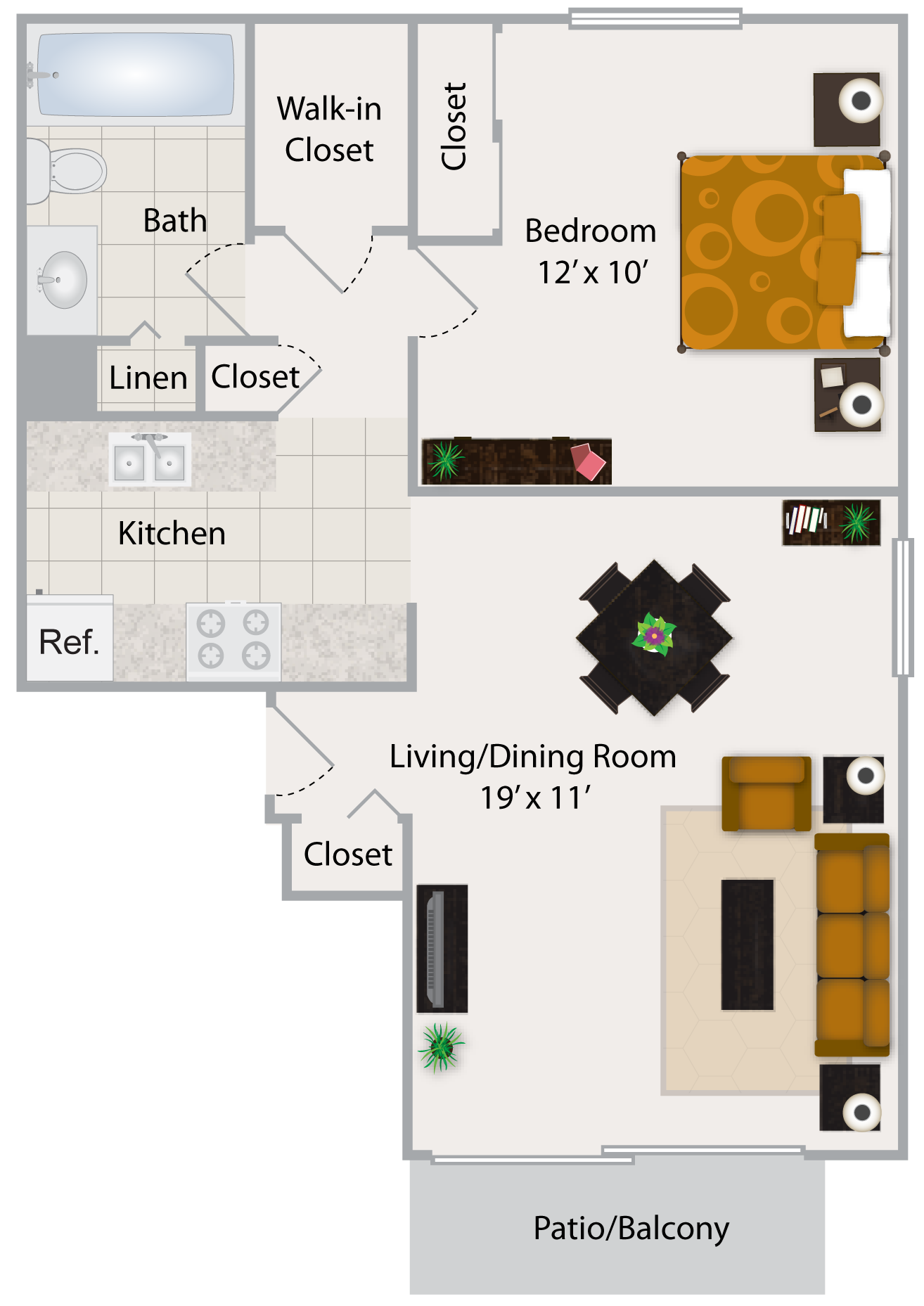 One Bedroom Apartment II Floor Plan 2