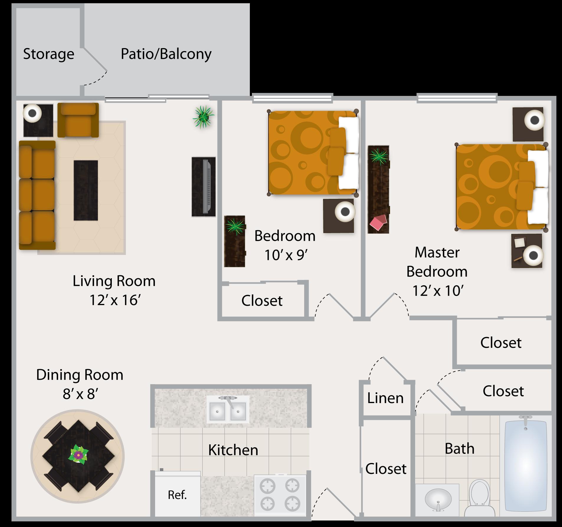 Two Bedroom Apartment I Floor Plan 3
