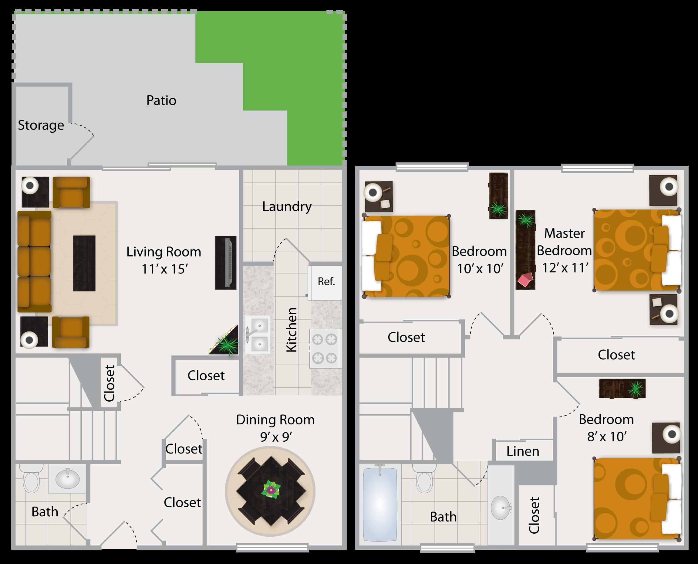 Three Bedroom Apartment III Floor Plan 5