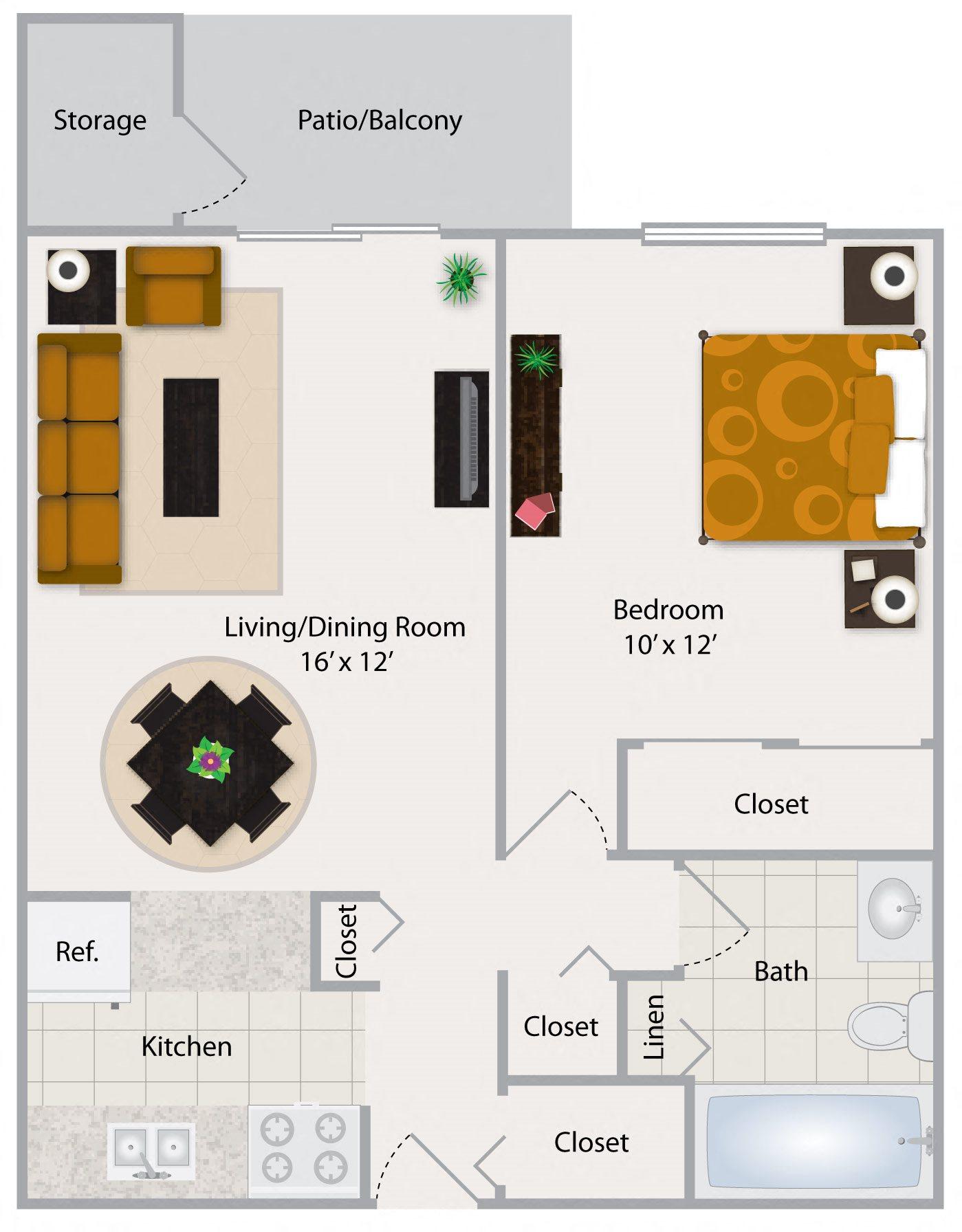 One Bedroom Apartment I Floor Plan 1