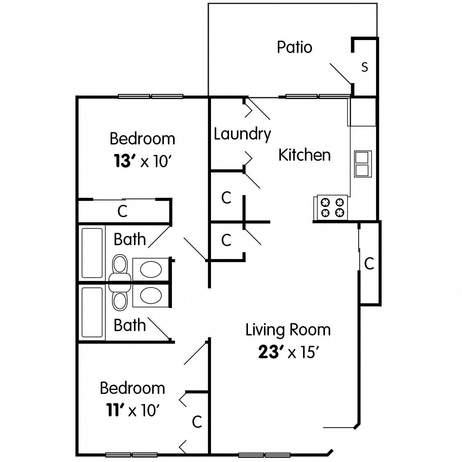 Cedar: 2 Bedroom Apartment Floor Plan 1