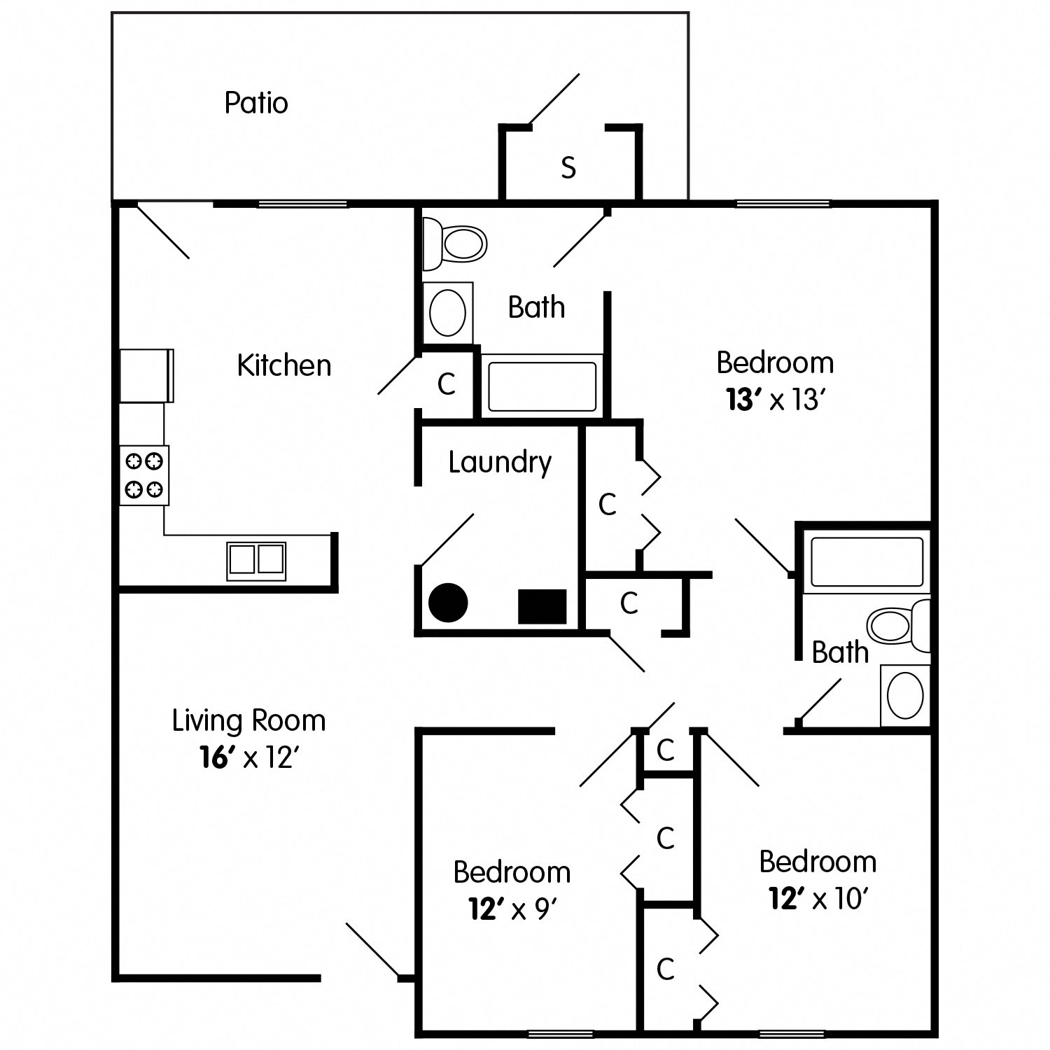 Pine: 3 Bedroom Apartment Floor Plan 2