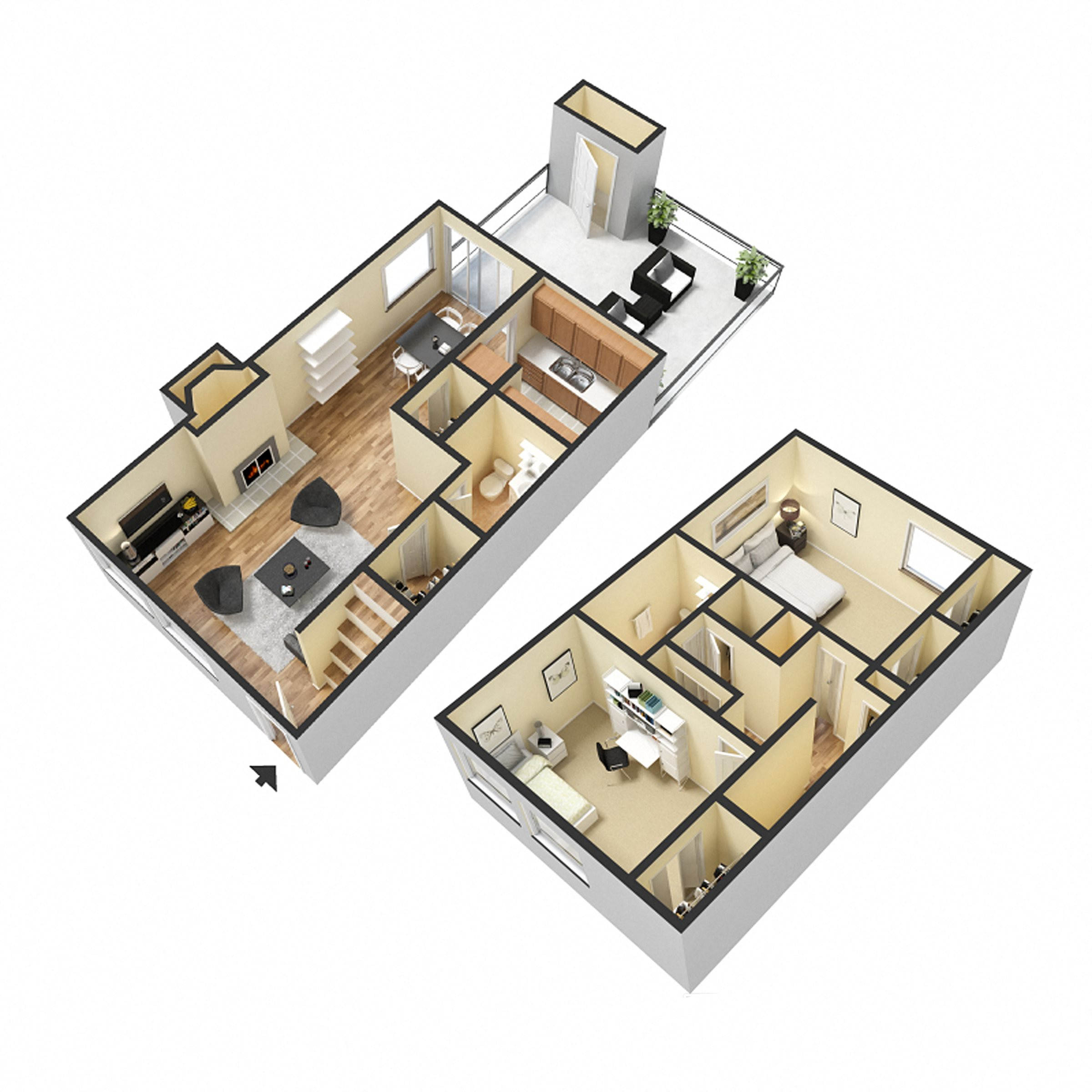 Two Bedroom Townhome Floor Plan 3