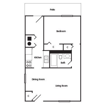 1 Bedroom Apartment: The Abbey Floor Plan 1