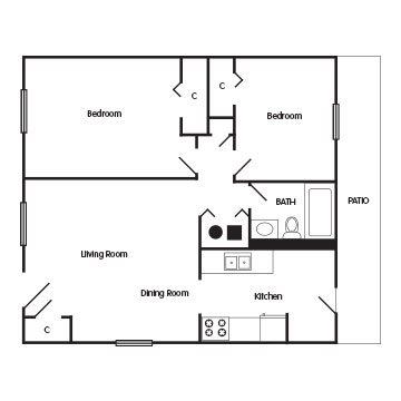 2 Bedroom Apartment: The Yorkshire Floor Plan 2