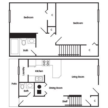 2 Bedroom Townhome: The Conrad Floor Plan 3