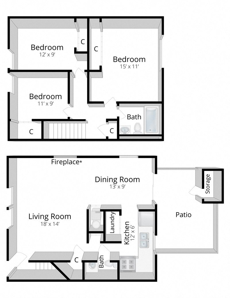 3 Bedroom Townhome Floor Plan 4