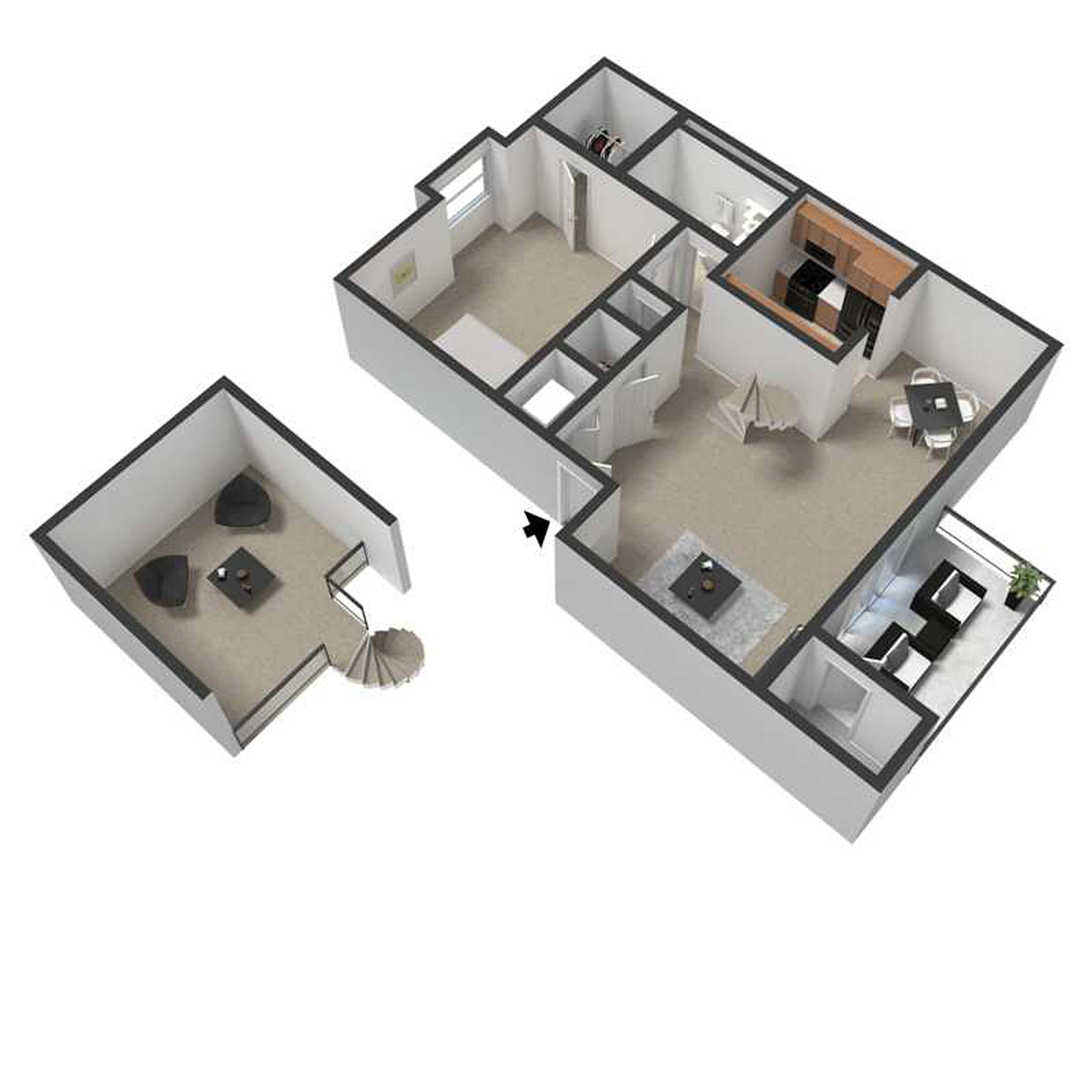 One Bedroom Apartment with Loft Floor Plan 2