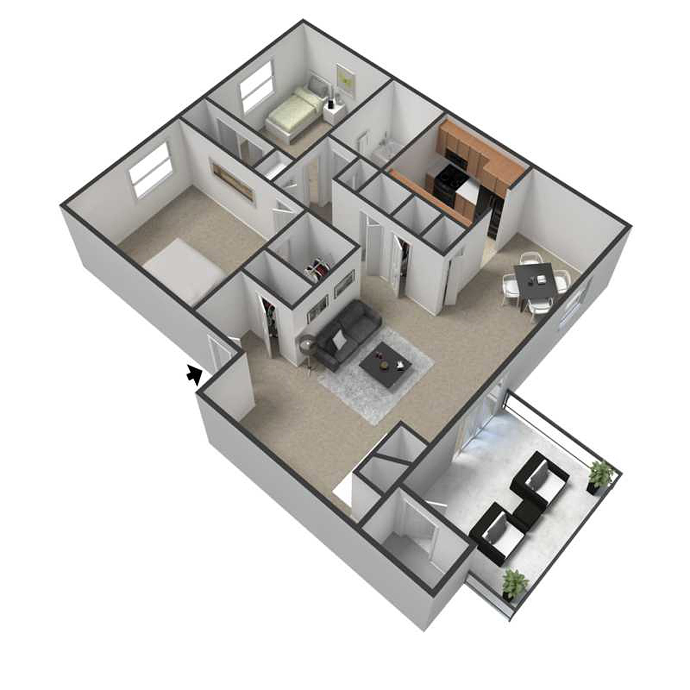 Two Bedroom Apartment Floor Plan 3