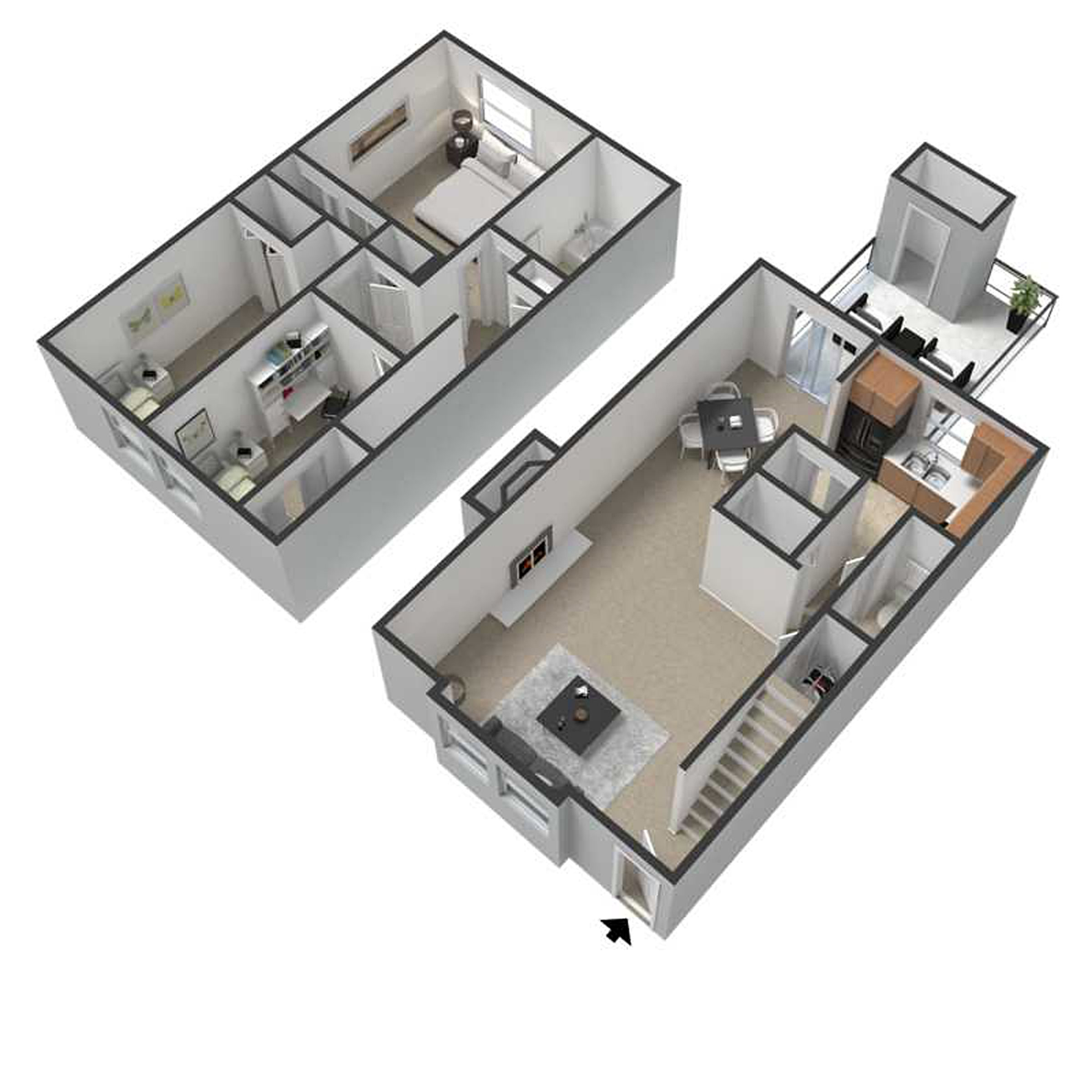 Three Bedroom Townhome Floor Plan 6