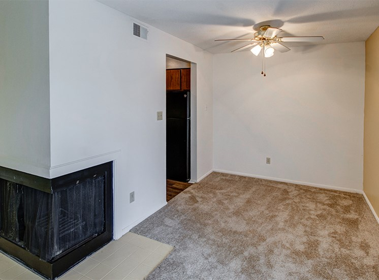 Dining Room with Fireplace at Woodlake Apartments