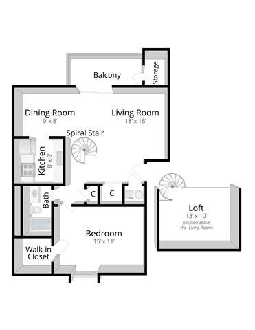 One Bedroom Apartment with Loft in Indianapolis