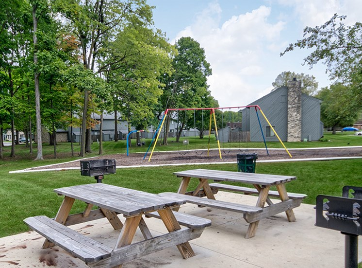 Park and Grilling Station with Swing Set at Woodlake Apartments