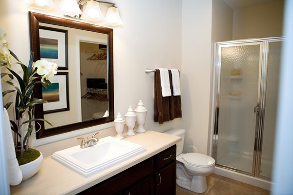 huge bathroom with designer finishes at Kenyon Square Apartments in Westerville, Columbus, OH