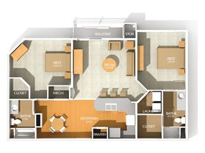 A floor plan at Kenyon Square Apartments in Westerville, Columbus, OH