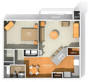 C floor plan at Kenyon Square Apartments in Westerville, Columbus, OH