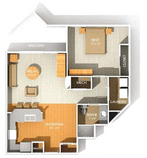 D floor plan at Kenyon Square Apartments in Westerville, Columbus, OH