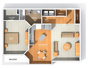 R Floor plan at Kenyon Square Apartments in Westerville, Columbus, OH