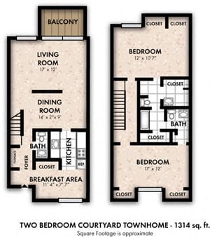 Two Bedroom Courtyard Townhome