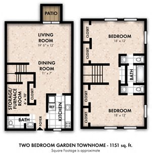 Two Bedroom Garden Townhome