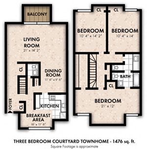 Three Bedroom Courtyard Townhome