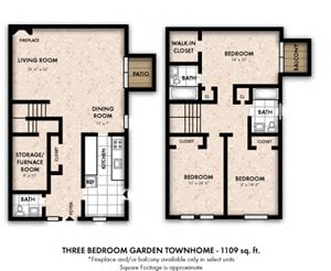 Three Bedroom Garden Townhome