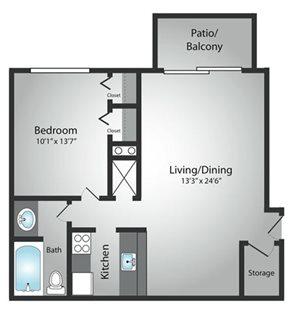 1 Bedroom / 1 Bath