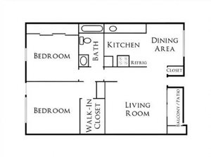 2BR/1BA Floorplan at Scripps Poway Villas