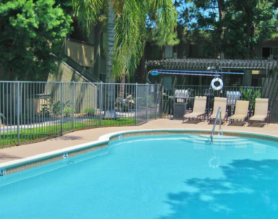 Pool Side Relaxing Area at Scripps Poway Villas, Poway, CA, 92064