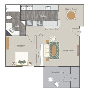 The Retreat at Rocky Ridge Apartment Homes - 1 Bedroom 1 Bath Apartment