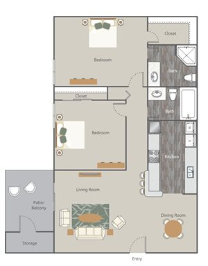 The Retreat at Rocky Ridge Apartment Homes - 2 Bedroom 2 Bath Apartment