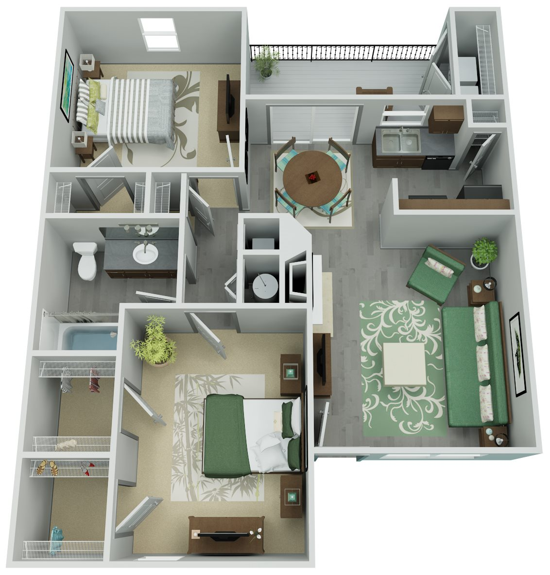 Trailpoint at The Woodlands Apartment Homes - 2 Bedroom 1 Bath Apartment