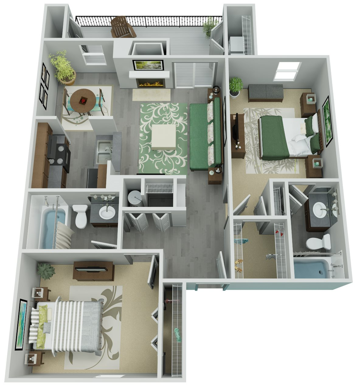 Trailpoint at The Woodlands Apartment Homes - 2 Bedroom 2 Bath Apartment