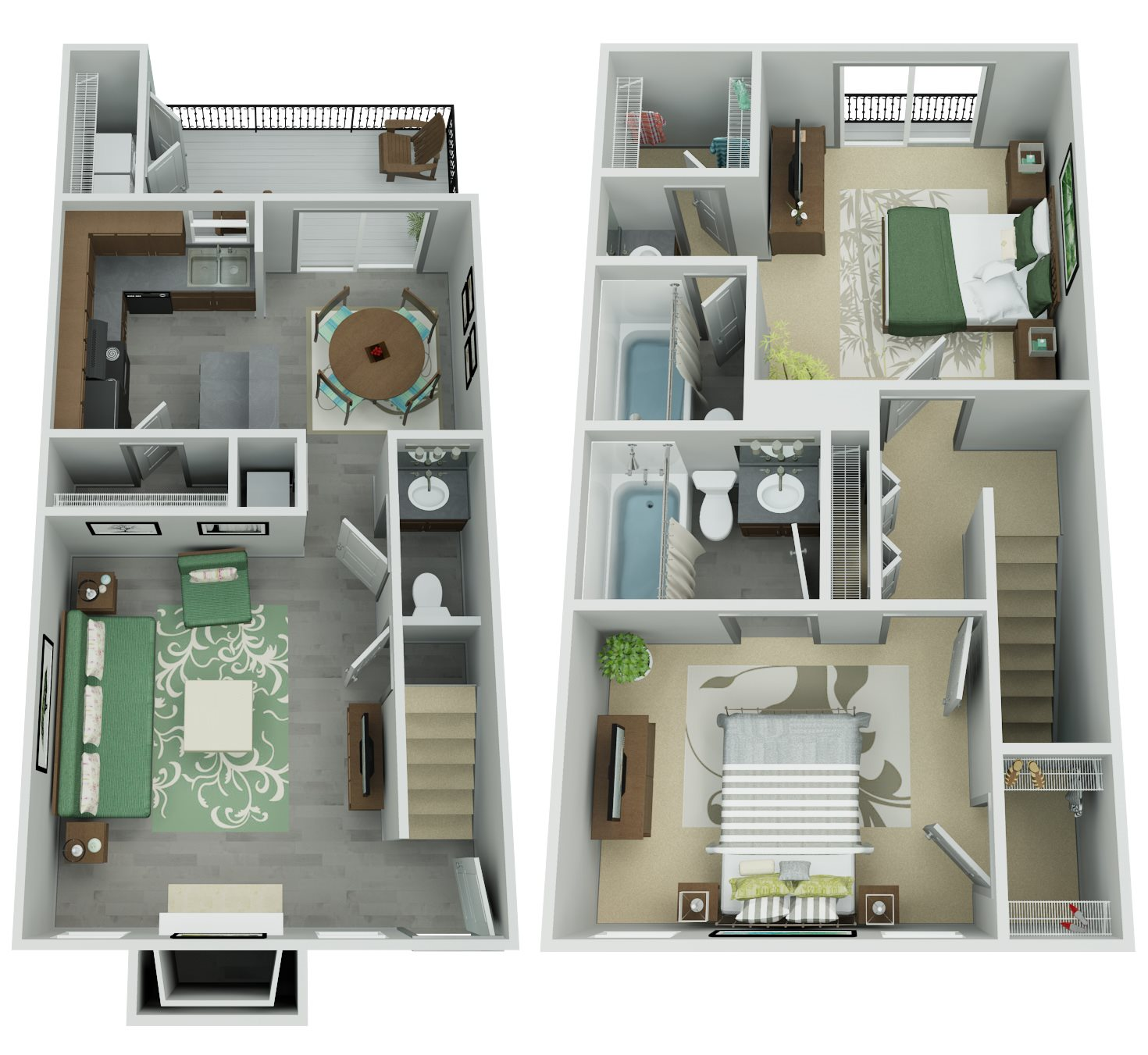 Trailpoint at The Woodlands Apartment Homes - 2 Bedroom 2.5 Bath Apartment