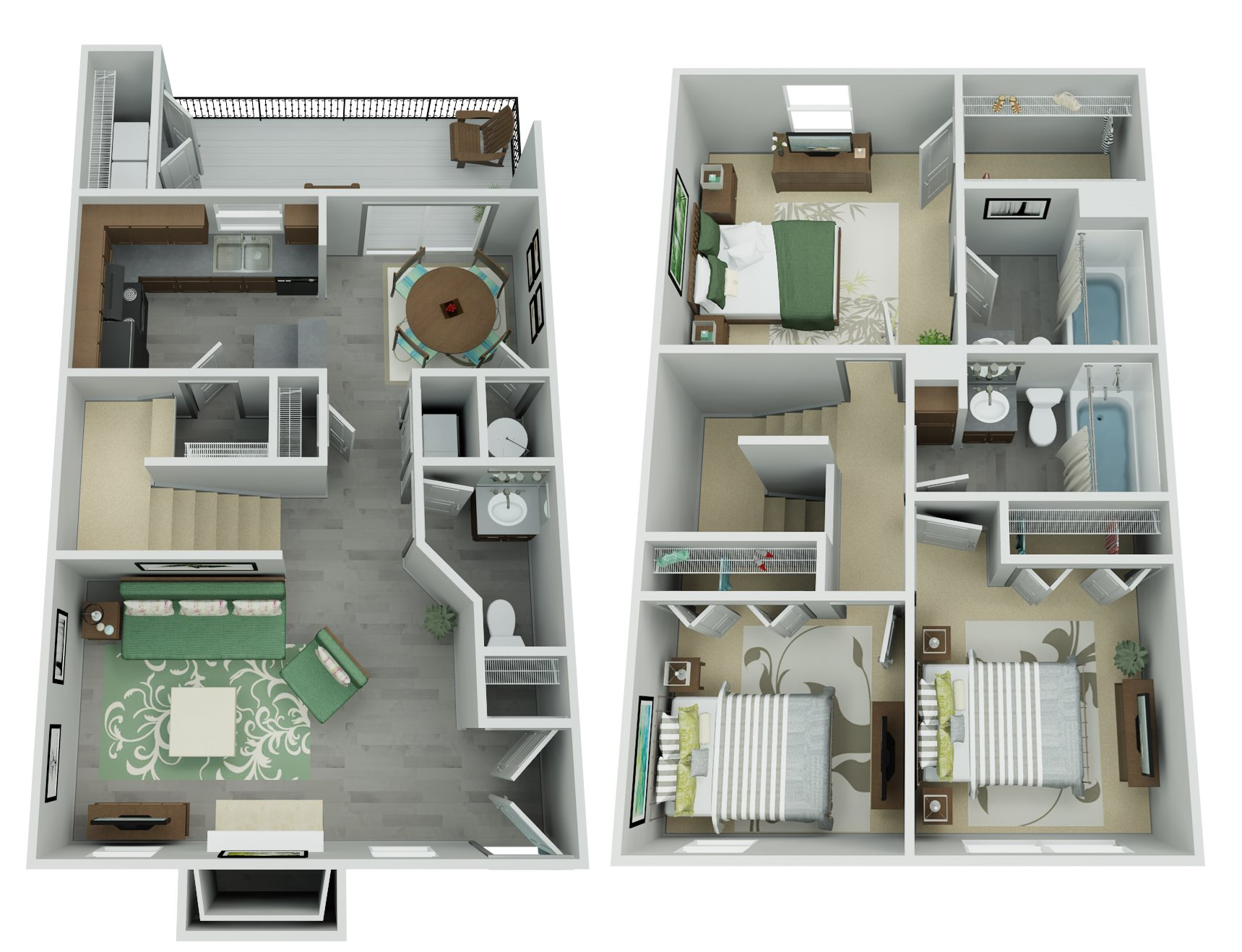 Trailpoint at The Woodlands Apartment Homes - 3 Bedroom 2.5 Bath Apartment