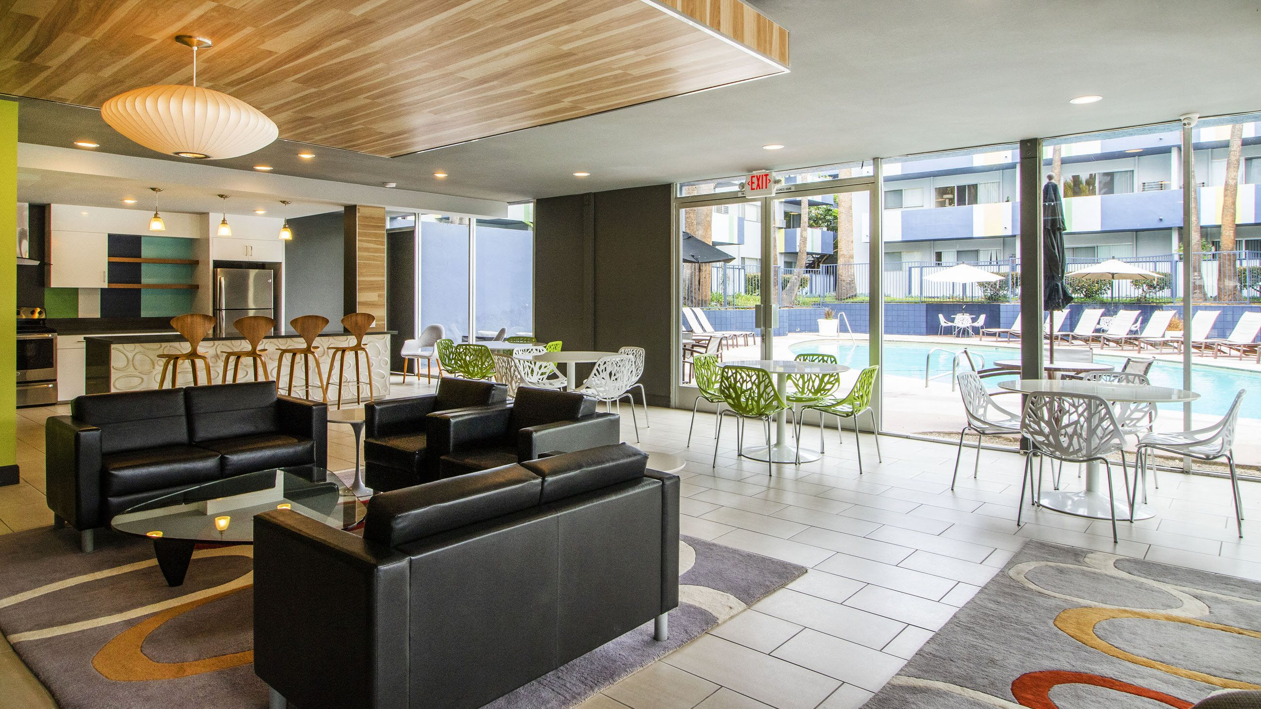 Resident Lounge with LED TV and Entertainment Kitchen at Milano Apartments 20900 Anza Ave Torrance, CA 90503
