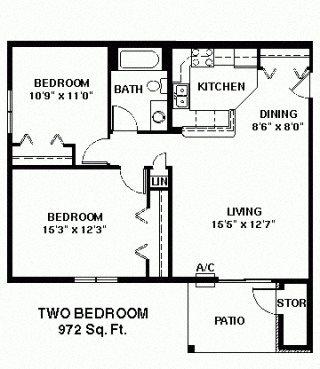 Two Bedroom Ranch large Floor Plan 4