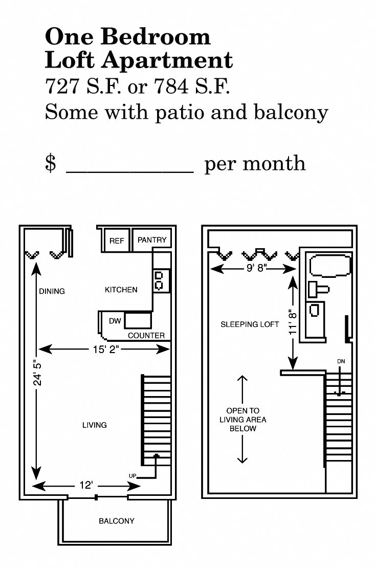 1 Bedroom Loft Floor Plan 2