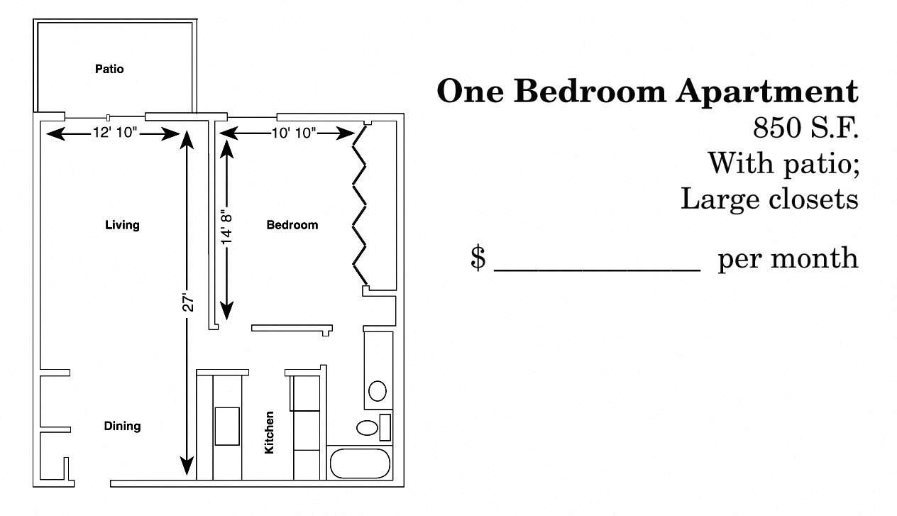 1 Bedroom Ranch Floor Plan 3